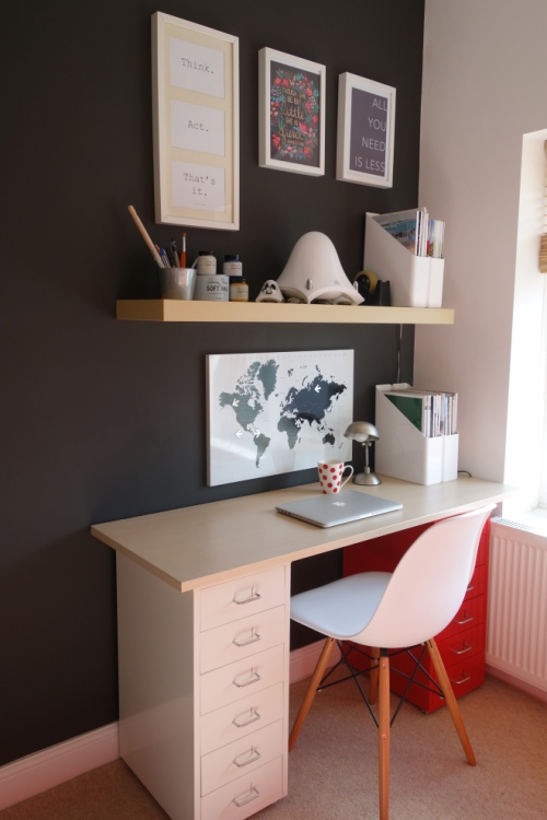 Black wall home office