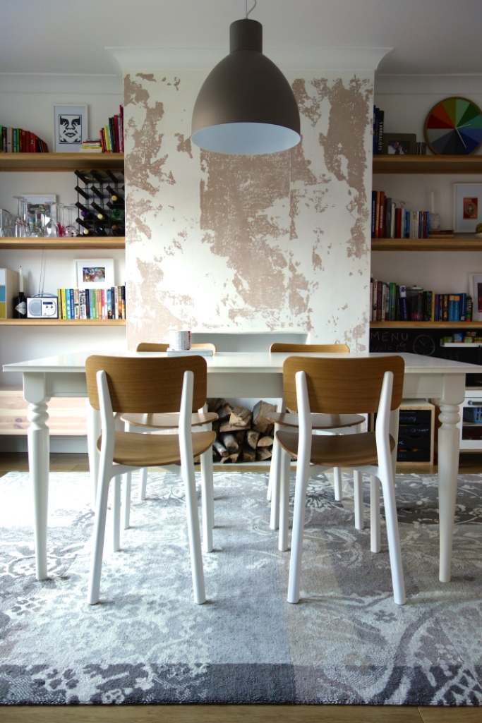 Dining Room After distressed wall flaking paint