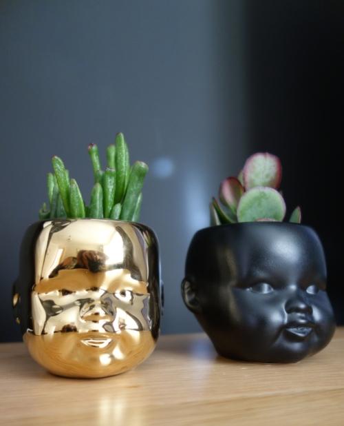 Doll head plant pots