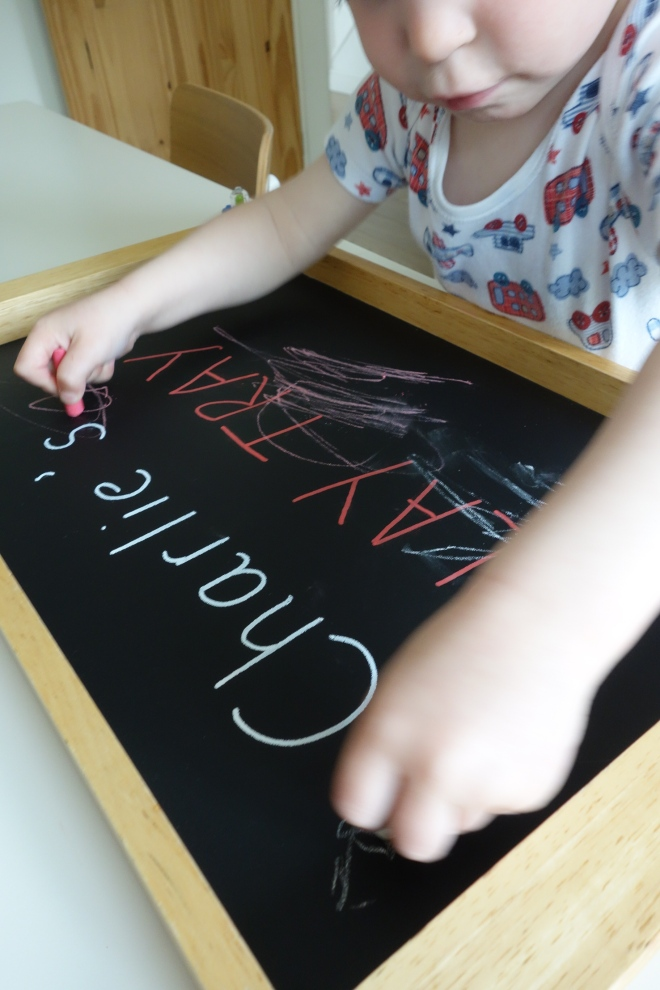 Chalk board play tray