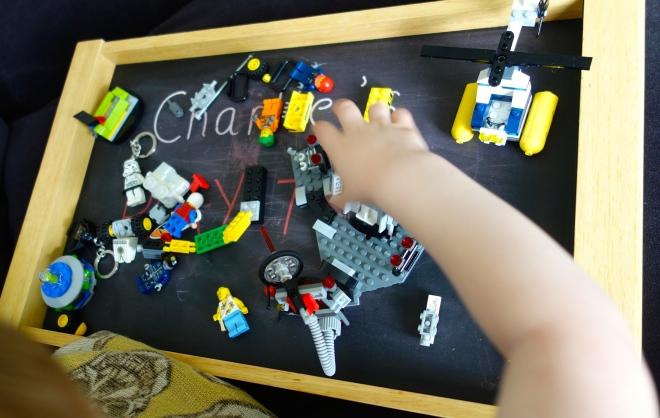 Chalk board play tray