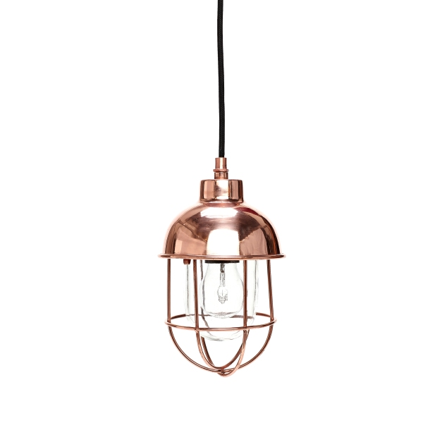COPPER CAGE CEILING LAMP WITH GLASS DOME