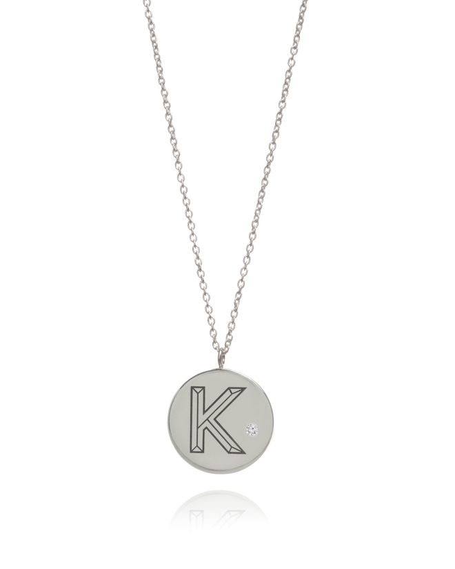 DIAMOND FACCET INITIAL NECKLACE BY MYIA BONNER