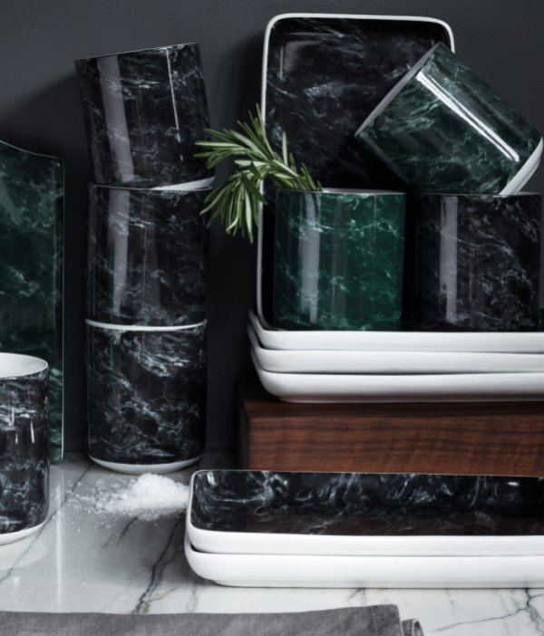 H&M black marble ceramics