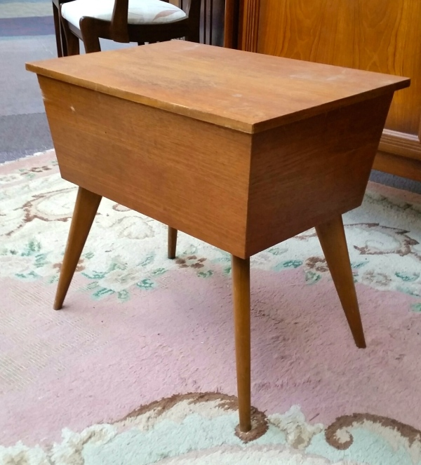 mid century stool sewing box