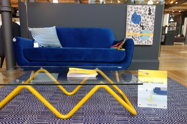 MADE JONAH BLUE VELVET SOFA