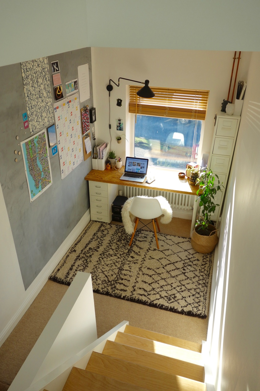 Box room turned into open plan landing work space
