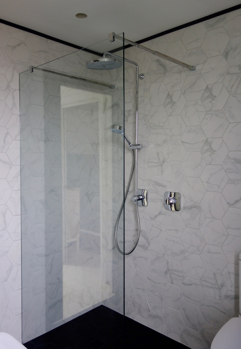 Walk in shower screen Mira Shower and Marble Hex tiles
