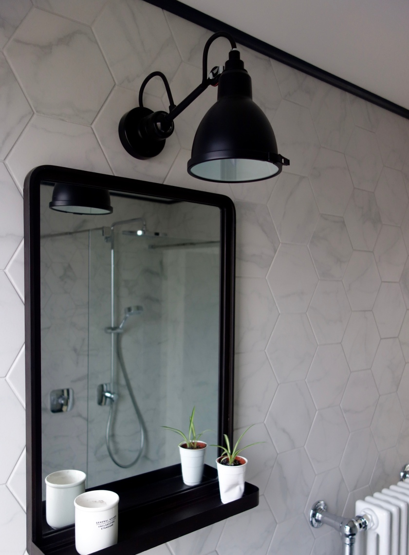 Lampe Gras Bathroom Wall light in monochrome bathroom