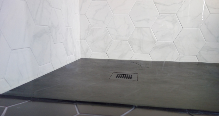 Slate effect softstone shower tray